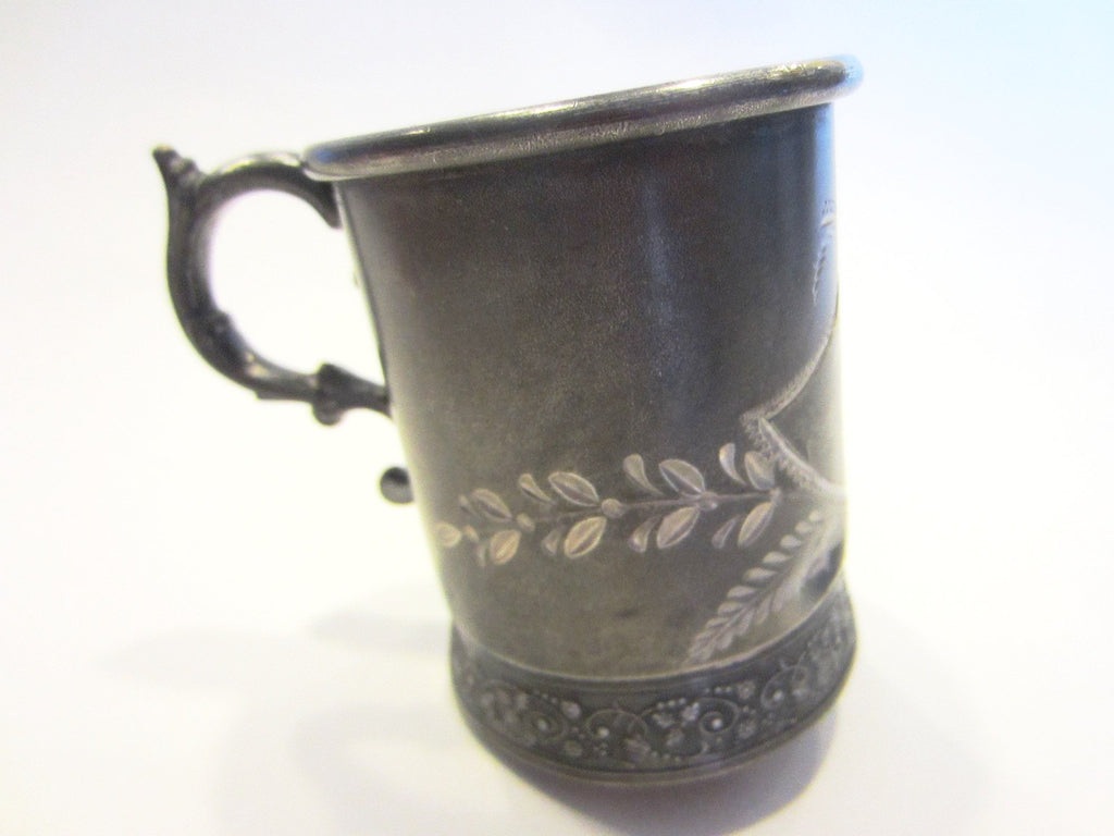 Albany Silver Triple Plate Cup Floral Engraving Marked Numbered - Designer Unique Finds   - 4