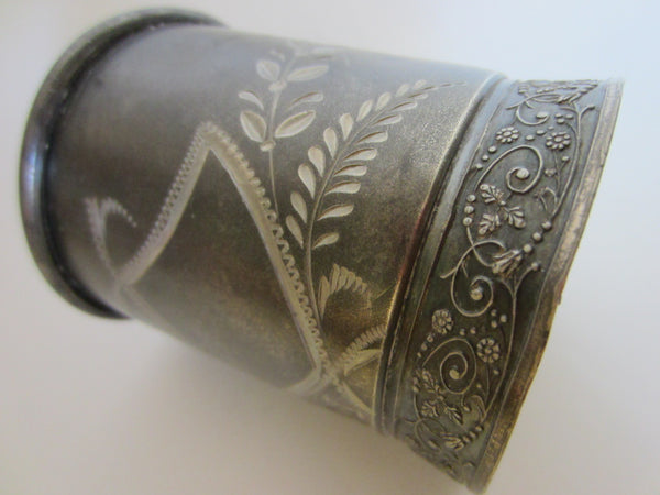 Albany Silver Triple Plate Cup Floral Engraving Marked Numbered - Designer Unique Finds   - 2