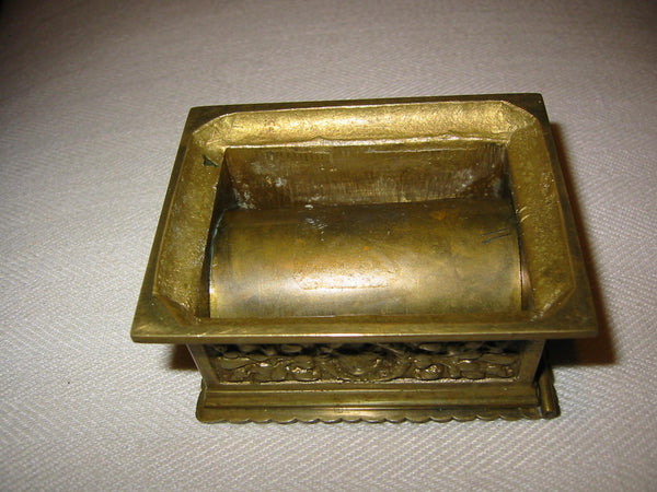 Rococo Style Stamp Box Brass Medallion Decorated Figures Floral Relief - Designer Unique Finds   - 4