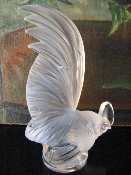 Lalique France Crystal Frosted Rooster Signed Labeled - Designer Unique Finds   - 6