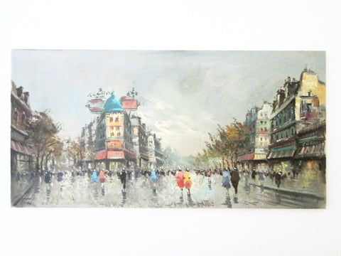 Antonio DeVity Paris Street Scene Signed Oil On Canvas Painting - Designer Unique Finds