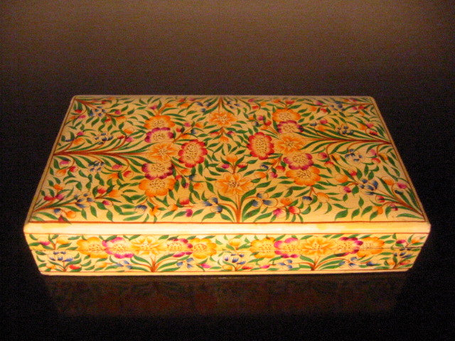Papier Mache Lacquer Box Hand Crafted In Kashmir India Floral Decoration - Designer Unique Finds   - 1