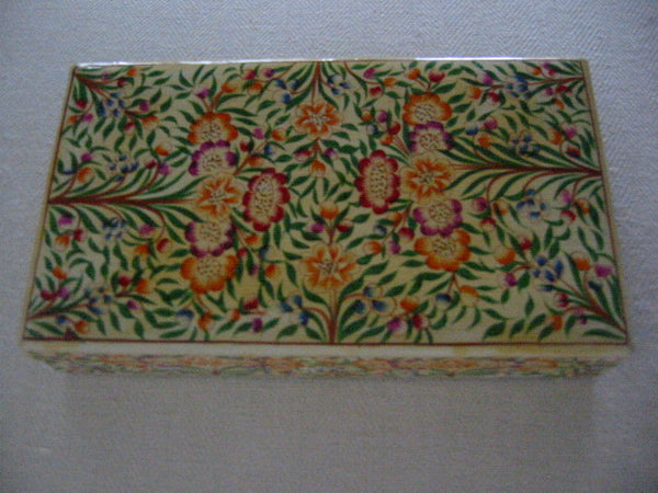 Papier Mache Lacquer Box Hand Crafted In Kashmir India Floral Decoration - Designer Unique Finds   - 2