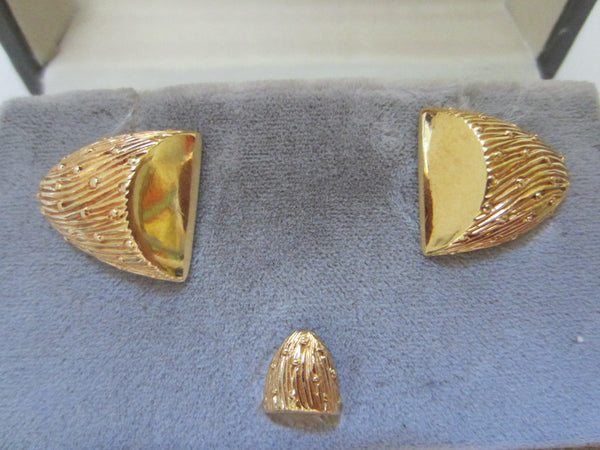 Christian Dior Golden Nuggets Mid Century Cuff Links Set - Designer Unique Finds
