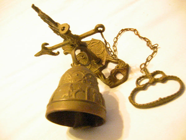 Brass Pool Chain Monastery Bell Ormolu High Relief - Designer Unique Finds   - 1