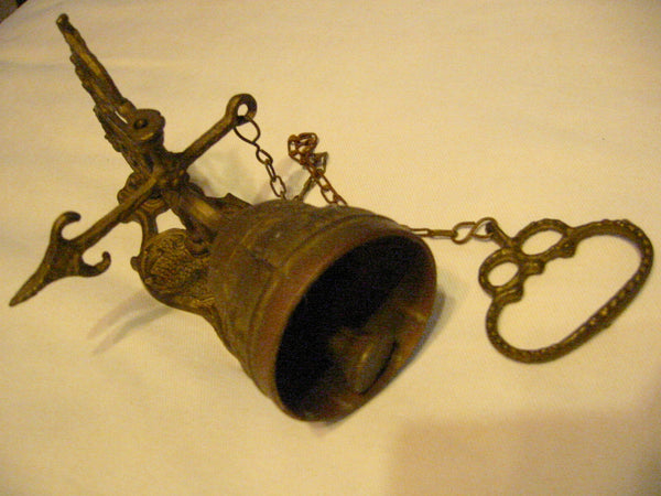 Brass Pool Chain Monastery Bell Ormolu High Relief - Designer Unique Finds   - 3
