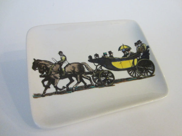 Fornasetti Milano Stagecoach Ceramic Tray Hand Painted Made In Italy - Designer Unique Finds