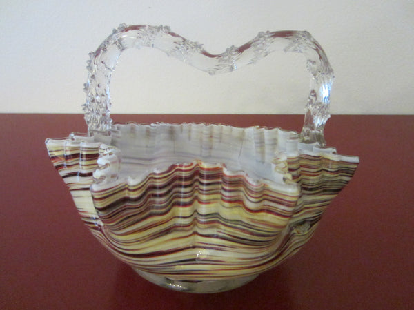 Art Glass Basket Applied Thorn Style Handle White Interior Striped Ruffled