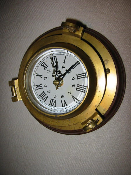 Porthole Nautical Brass Quartz Maritime Ship Clock Mahogany Mount Beveled Glass - Designer Unique Finds   - 3