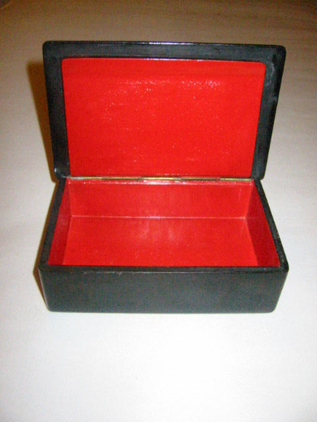 Russian Black Lacquer Jewelry Box Hand Decorated Signed The Troika School of Kholui - Designer Unique Finds   - 2