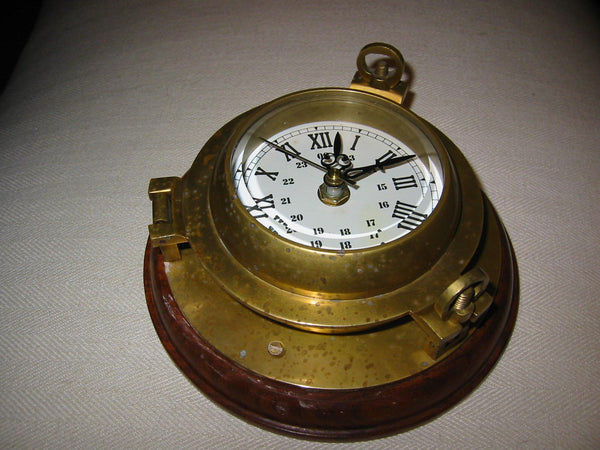 Porthole Nautical Brass Quartz Maritime Ship Clock Mahogany Mount Beveled Glass - Designer Unique Finds   - 5