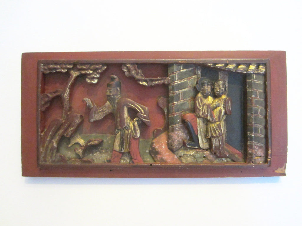 Chinese Red Plaque Panel Gilt Decorated Carved Outdoor Story Teller Figures - Designer Unique Finds