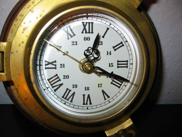 Porthole Nautical Brass Quartz Maritime Ship Clock Mahogany Mount Beveled Glass - Designer Unique Finds   - 6