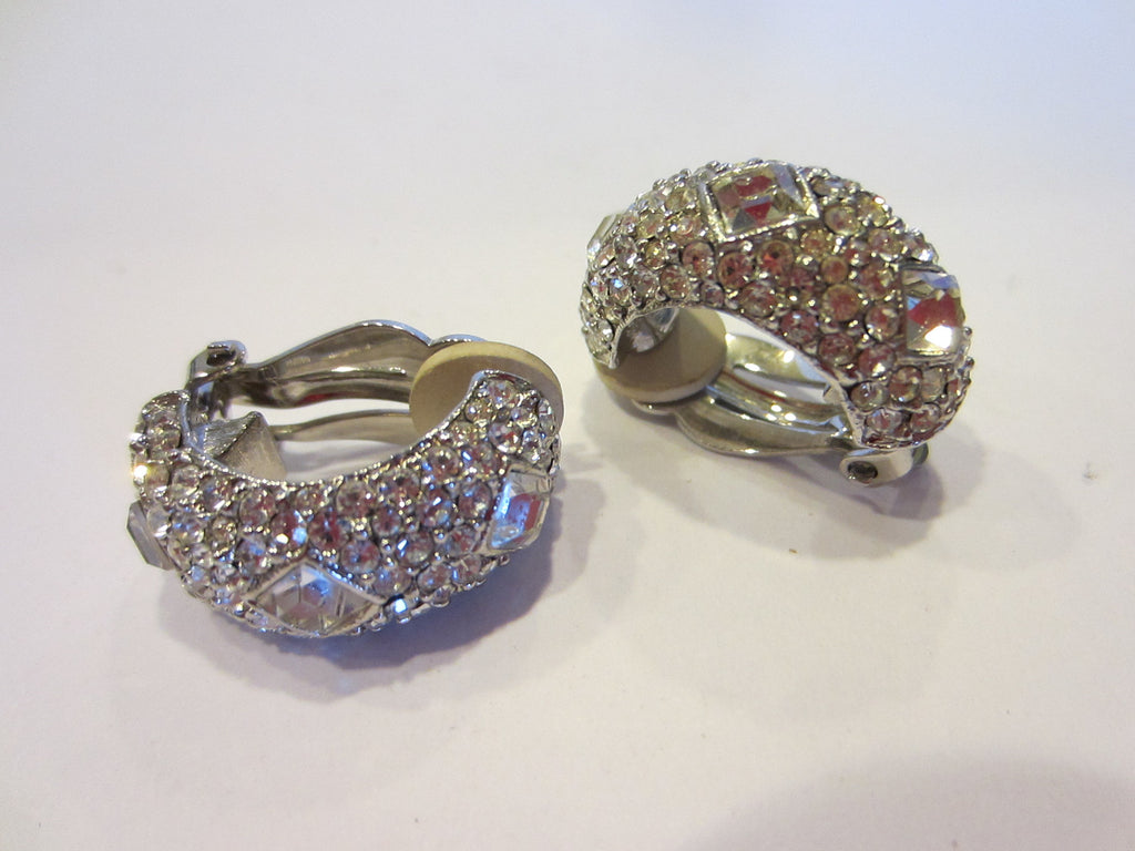 Joan Rivers Clip On White Rhinestones Signed Earrings - Designer Unique Finds   - 2