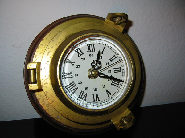 Porthole Nautical Brass Quartz Maritime Ship Clock Mahogany Mount Beveled Glass - Designer Unique Finds   - 1