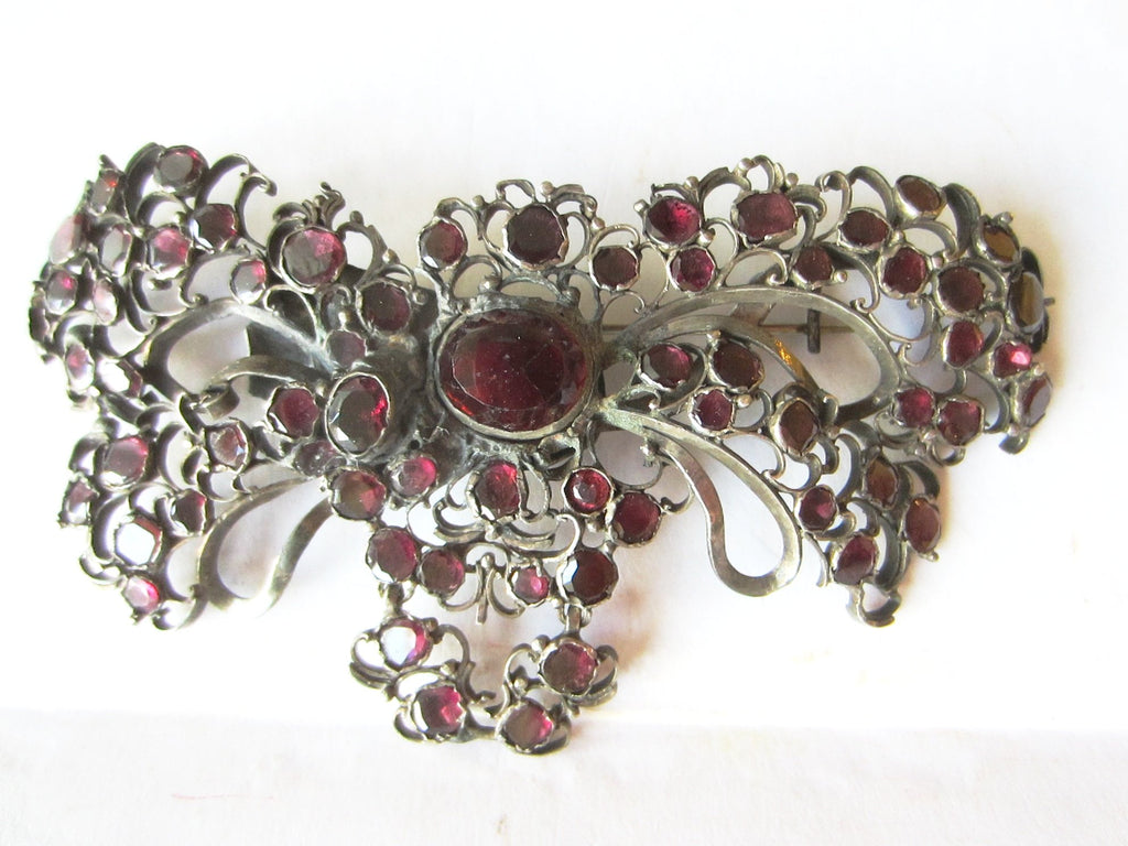Victorian Butterfly Garnet Brooch Spanish Revival Large Cabochon