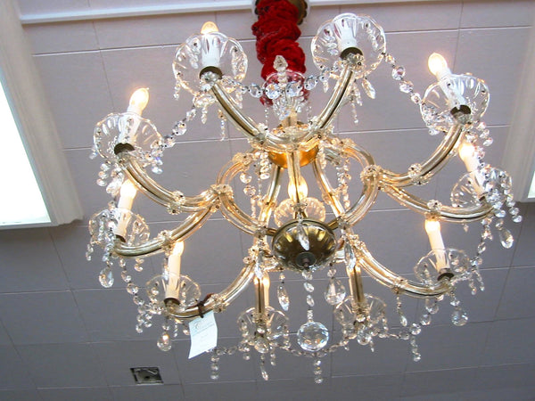 Crystal Chandelier Hand Cut Ten Light Pendant Prisms Brass Fixture - Designer Unique Finds   - 2