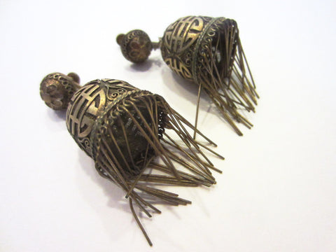 A Pair Of Chinese Filigree Fringe Lantern Monogram Screw Back Art Deco Earrings