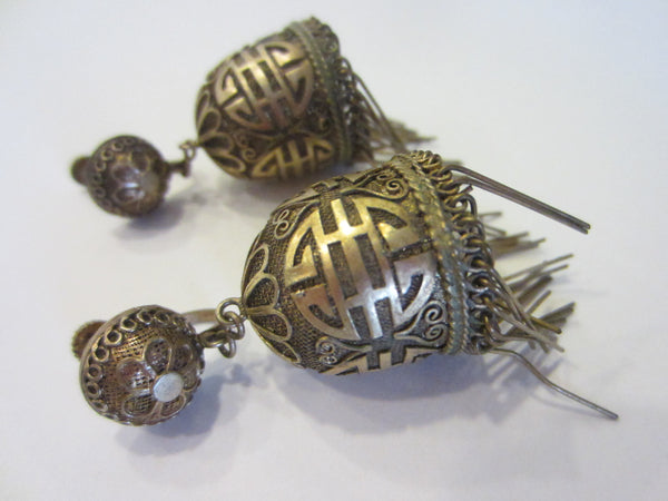 Art Deco Chinese Monogram Filigree Lantern Fringe Earrings Screw Back - Designer Unique Finds