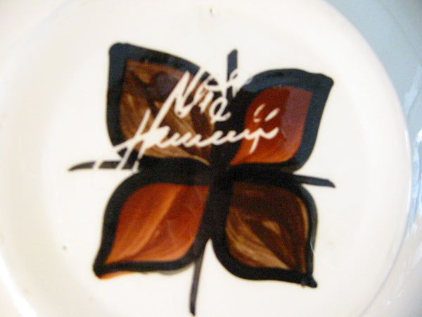 Hawaii Lei Ceramic Bowl Hand Crafted Signed Decorated Glazed - Designer Unique Finds   - 5
