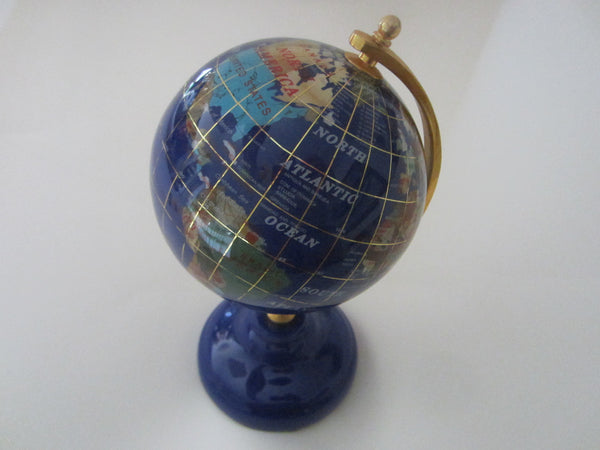 World Globe Cobalt Desktop Sculpture Brass Hardware Decorated Gems - Designer Unique Finds