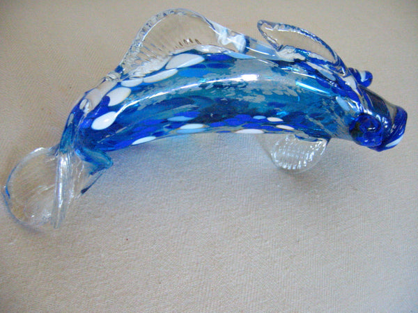 Behrotock Iridescent Blue Glass Signed Fish Sculpture - Designer Unique Finds   - 1