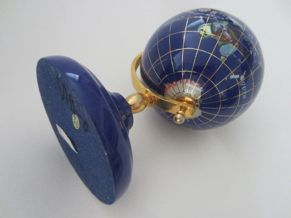 World Globe Cobalt Desktop Sculpture - Designer Unique Finds