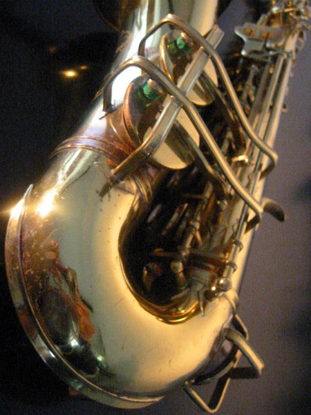 Buescher Aristocrat Elkhart Brass Saxophone Mother Of Pearl Bakelite - Designer Unique Finds   - 5