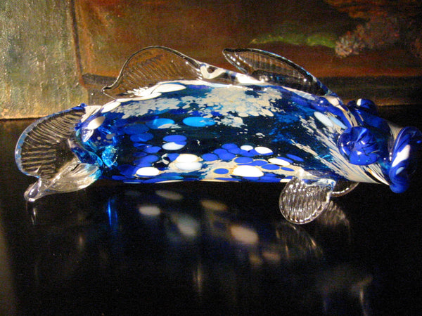 Behrotock Iridescent Blue Glass Signed Fish Sculpture - Designer Unique Finds   - 3