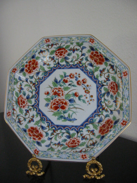 Imari Style Porcelain Charger Hexagonal Floral Medallion Gilt Decorated Signed - Designer Unique Finds   - 3