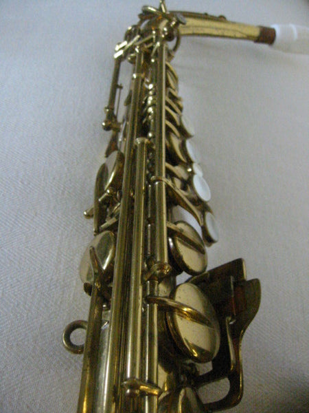 Buescher Aristocrat Elkhart Brass Saxophone Mother Of Pearl Bakelite - Designer Unique Finds   - 6