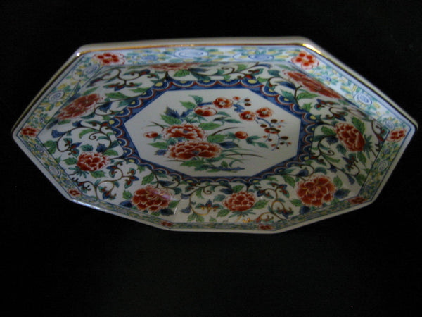 Imari Style Porcelain Charger Hexagonal Floral Medallion Gilt Decorated Signed - Designer Unique Finds   - 1
