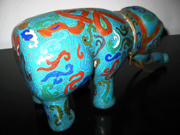 Asian Chinese Cloisonne Elephant Jar Figurative Blue Red Enameling - Designer Unique Finds   - 4