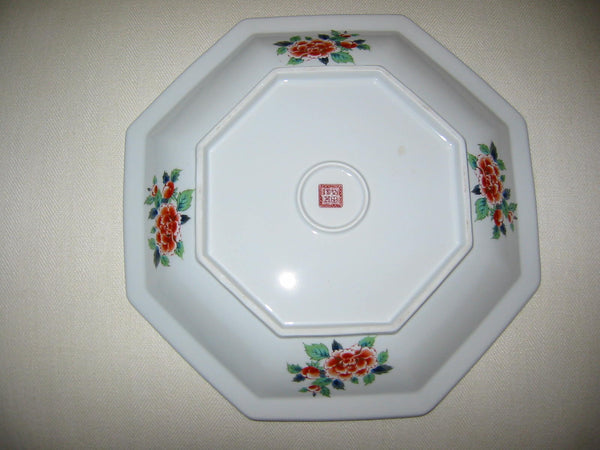 Imari Style Porcelain Charger Hexagonal Floral Medallion Gilt Decorated Signed - Designer Unique Finds   - 4