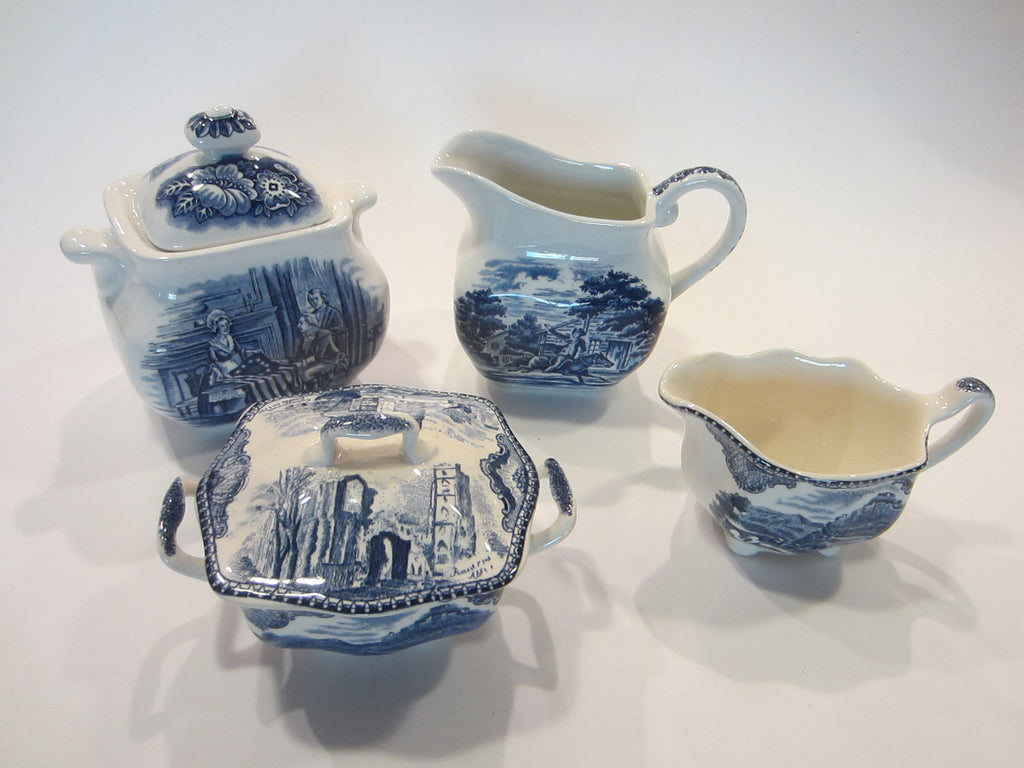 A Historic Tea Set Liberty Blue White Ceramic Colonial England Table Decor