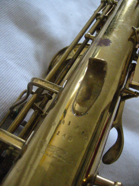 Buescher Aristocrat Elkhart Brass Saxophone Mother Of Pearl Bakelite - Designer Unique Finds   - 8