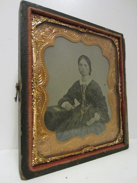 Daguerreotype Gutta Percha Female Portrait Picture Gold Case Book Frame - Designer Unique Finds   - 2
