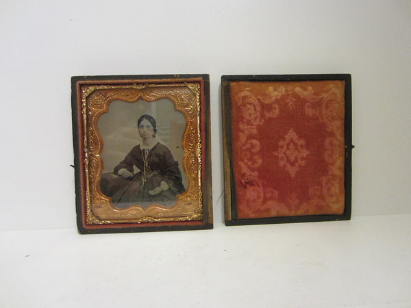 Antique Daguerreotype Case Gutta Percha Female Portrait