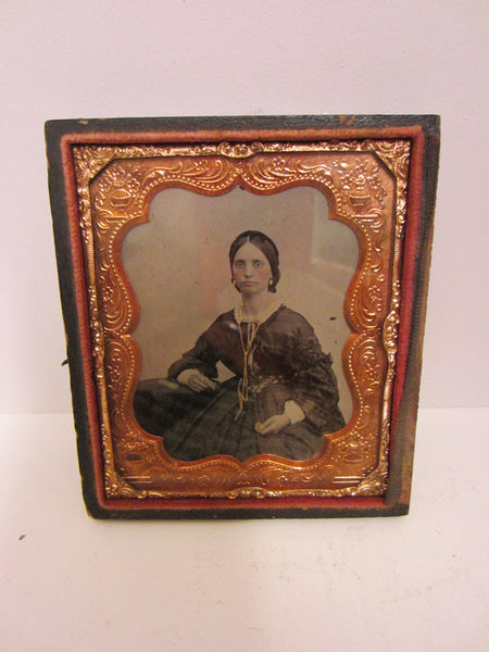 Daguerreotype Gutta Percha Female Portrait Picture Gold Case Book Frame - Designer Unique Finds   - 6