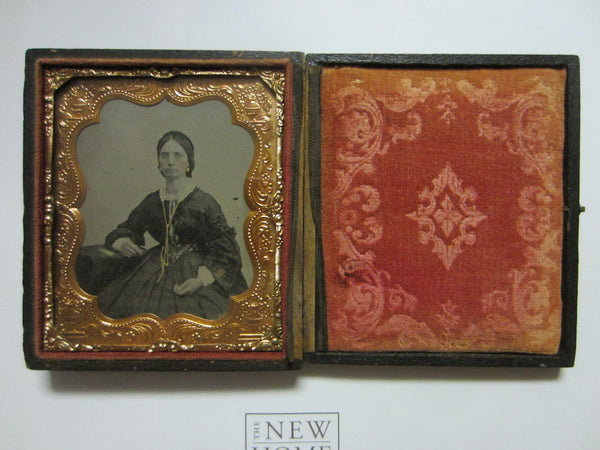 Daguerreotype Gutta Percha Female Portrait Picture Gold Case Book Frame - Designer Unique Finds   - 1