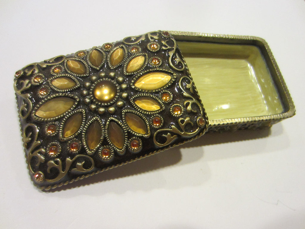 Jewelry Box Cabochon Flowers Enameling Scrolled Golden Rhinestones - Designer Unique Finds   - 1