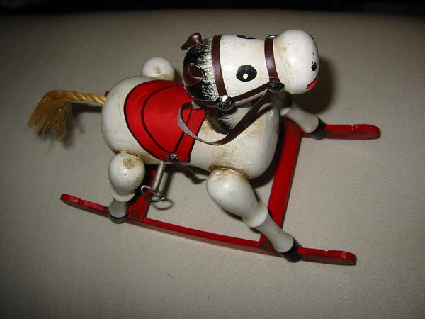 Enesco Wood Musial Rocking Horse Red Sleigh Toyland 1979 - Designer Unique Finds   - 3