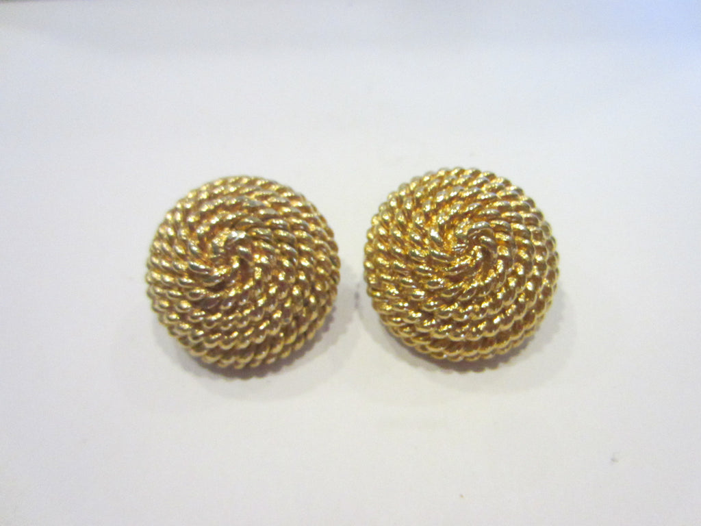 Monet Golden Clip on Earrings Designer Signed Copyrighted - Designer Unique Finds   - 1