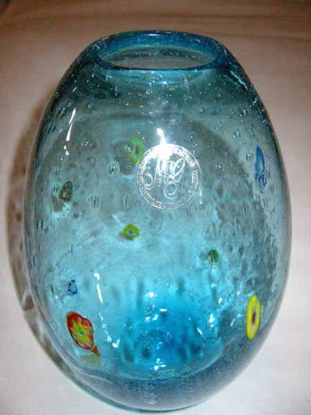 California Designer Margies Garden Modernist Hand Blown Blue Glass Vase - Designer Unique Finds   - 3