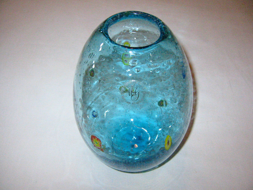 California Designer Margies Garden Modernist Hand Blown Blue Glass Vase - Designer Unique Finds   - 1