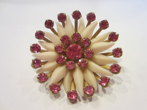 Blooming Flower Mid Century Brooch Pink Rhinestones - Designer Unique Finds   - 1