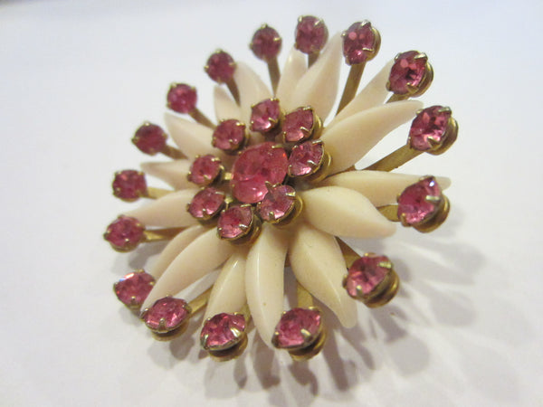 Blooming Flower Mid Century Brooch Pink Rhinestones - Designer Unique Finds   - 3