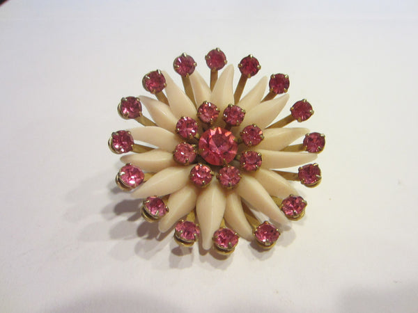 Blooming Flower Mid Century Brooch Pink Rhinestones - Designer Unique Finds   - 4