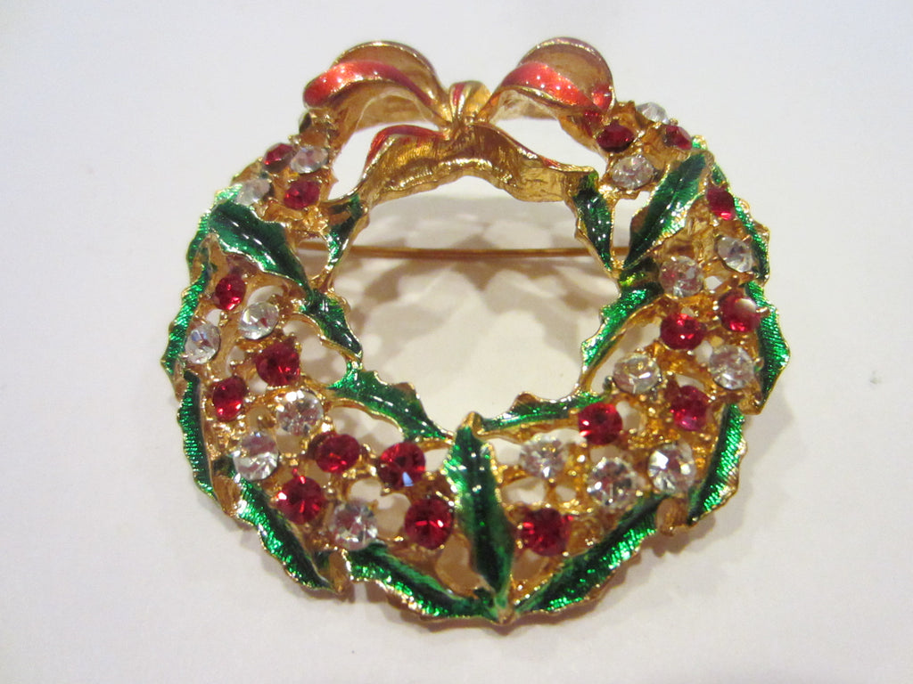 Jeweled Wreath Brooch Red Enamel Bow Crystal Floral Green Leaves - Designer Unique Finds