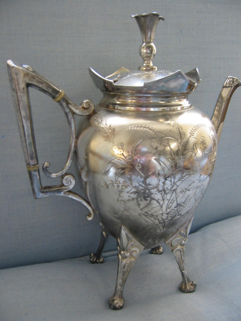 Roger Smith Co Conn New Haven Silver Plated Tea Kettle Circa 1884 Signed - Designer Unique Finds   - 1